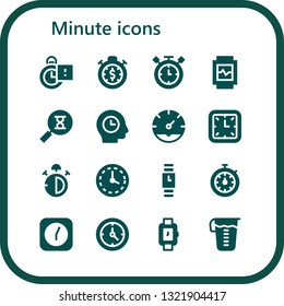 minute icon set. 16 filled minute icons.  Collection Of - Stopclock, Stopwatch, Timer, Watch, Sandclock, Time, Clock, Wall clock, Stop watch, Wristwatch, Measuring glass