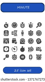 minute icon set. 25 filled minute icons.  Simple modern icons about  - Stopwatch, Wall clock, Stop watch, Sandclock, Hourglass, Wristwatch, Clocks, Chronometer, Wait time, Clock