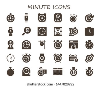 minute icon set. 30 filled minute icons.  Collection Of - Stopwatch, Wristwatch, Alarm clock, Wall clock, Time, Clocks, Sandclock, Clock, Hourglass, Watch, Timer, Chronometer