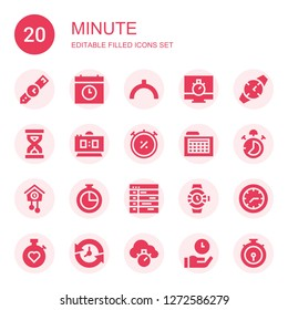 minute icon set. Collection of 20 filled minute icons included Wristwatch, Time, Noon, Chronometer, Watch, Sandclock, Digital clock, Schedule, Stop watch, Cuckoo clock, Watches