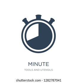 minute icon vector on white background, minute trendy filled icons from Tools and utensils collection, minute vector illustration