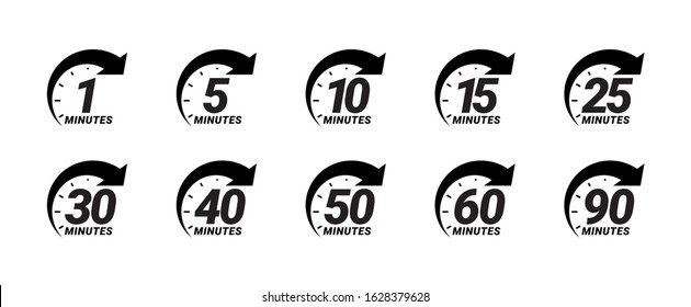 Minute timer icons set. Icons for one minute, five, ten, fifteen or more minutes. The arrow indicates the limited cooking time or deadline for an event or task. Vector illustration