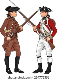 Minuteman and British Soldier from American Revolutionary War Clashing Each Others Weapons, Illustration Isolated on White Background, EPS 10 Vector
