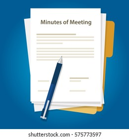 Minutes of meeting with document, paper and pen. Writing about summary of communication in office
