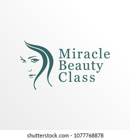 Miracle Beauty Class Logo Concept, Beauty Care Logo Design Template, Face Shape, Long Hair, Green, Simple & Clean