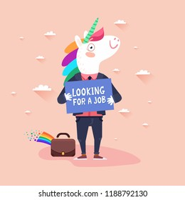 The miracle unicorn candidate vacancy concept. Looking for a job. Unicorn Hunting. Vector colorful illustration in flat design style