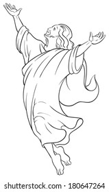 Miracles Of Jesus Ascension Christian And Easter Holiday Vector Cartoon Illustration Coloring Page