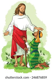 Miracles of Jesus. Healing Blind Bartimaeus. Vector christian cartoon illustration. Also available coloring book version