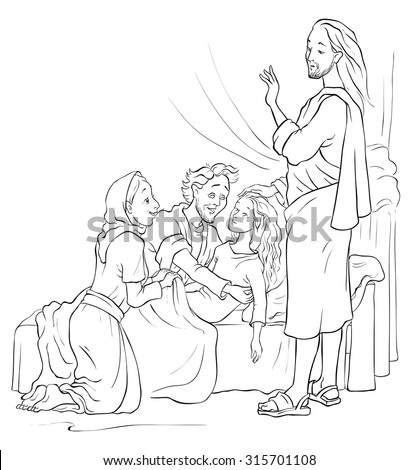 Raising Of Jairus Daughter Christian Cartoon Coloring Page Also Available