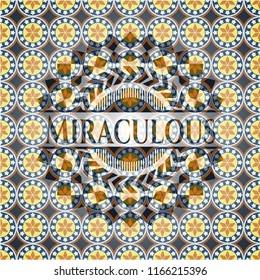 Miraculous arabic style badge. Arabesque decoration.