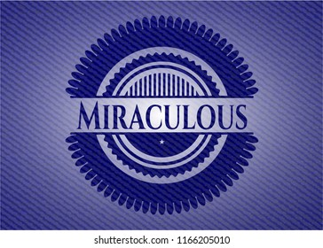 Miraculous badge with jean texture