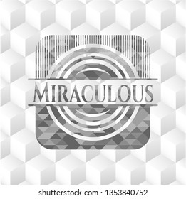 Miraculous grey badge with geometric cube white background