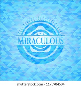Miraculous light blue emblem with triangle mosaic background