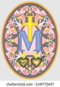 Miraculous medal of Our Lady, monogram M below the Cross, with the symbols of two hearts, surrounded by stars and ornaments