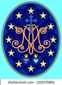 Miraculous medal of Our Lady, monogram M with symbols of hearts, surrounded by stars