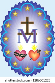 Miraculous medal of Our Lady, monogram M under the Cross, symbols of two hearts, surrounded by twelve stars