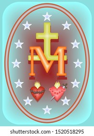 Miraculous medal of Our Lady-an oval with the Cross and monogram M, symbols of two hearts, surrounded by twelve stars