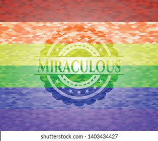 Miraculous on mosaic background with the colors of the LGBT flag
