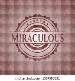 Miraculous red emblem with geometric background. Seamless.