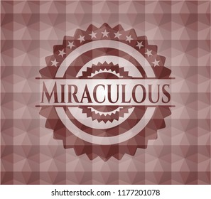 Miraculous red seamless badge with geometric background.