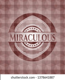 Miraculous red seamless emblem or badge with abstract geometric polygonal pattern background.