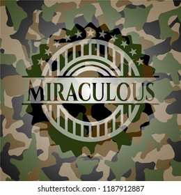 Miraculous written on a camouflage texture