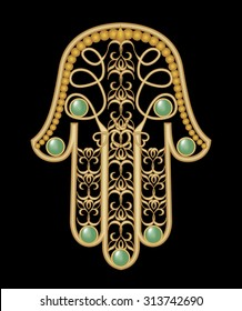 Miriam hand - amulet of protection in gold filigree design with green  emerald gem, hamsa