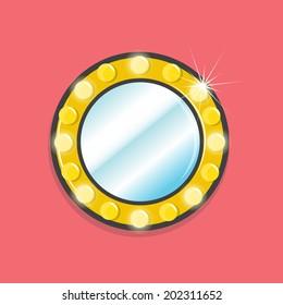Mirror with bulbs - vector