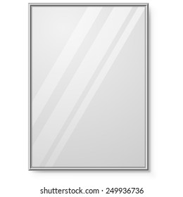 Mirror with chrome frame on the wall vector template.