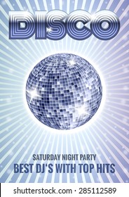 Mirror disco ball poster with rays