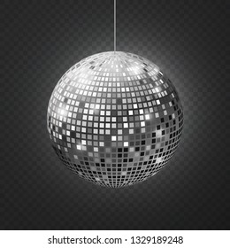 Mirror disco ball. Soffit reflection ball mirrored disco party silver glitter equipment retro halo rays shining mirrorball vector illustration