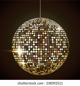 Mirror disco ball vector illustration. Glamorous sphere. Glowing design element. Sphere object.