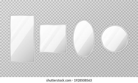 Mirror frames or mirror decor interior. Realistic mirrors set. Vector illustration