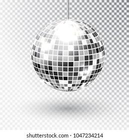 Mirror glitter disco ball vector illustration. Night Club party light element. Bright mirror silver ball design for disco dance club. Vector