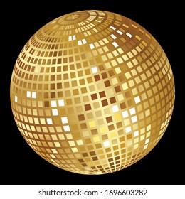 Mirror golden disco ball on a black background .Vector graphic.