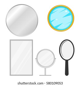 Mirror, mirror icon, piece of furniture, to look, reflection, reflect. Flat design, vector illustration, vector.