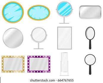 Mirror, mirror icon, piece of furniture, to look. Big set of the mirror. Flat design, vector illustration, vector.