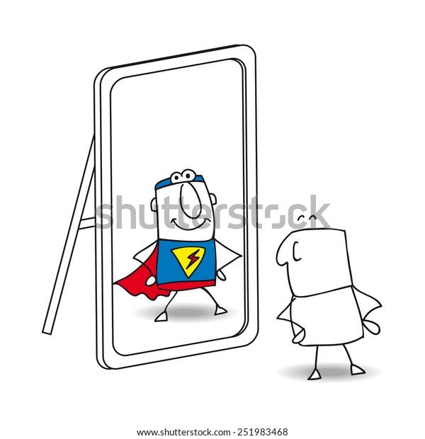 Le miroir. Joe regarde dans le miroir. Il voit un super-héros dans la réflexion. C'est une métaphore du pouvoir qui est dans chaque personne