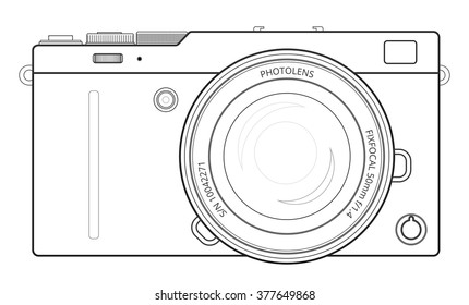 Camera blueprint images stock photos vectors shutterstock mirror less interchangeable lens digital photo camera line blueprint view outline vector illustration malvernweather Choice Image
