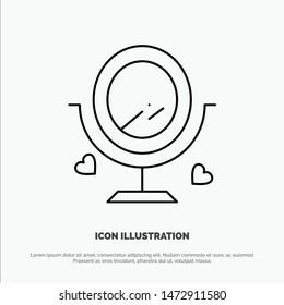 Mirror, Love, Wedding, Heard Line Icon Vector