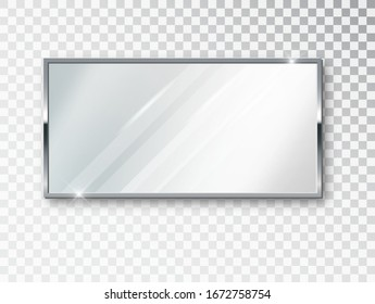 Mirror rectangle isolated. Realistic mirror frame, white mirrors template. Realistic 3D design for interior furniture. Reflecting glass surfaces isolated.