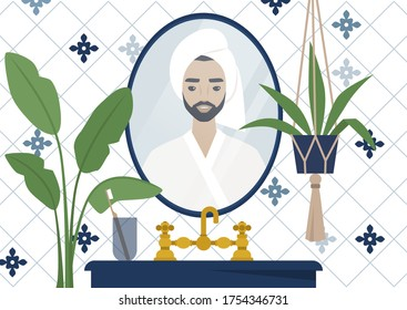 A mirror reflection of a young male character wearing a towel wrapped at the side of their head, azulejo tile, modern bathroom interior