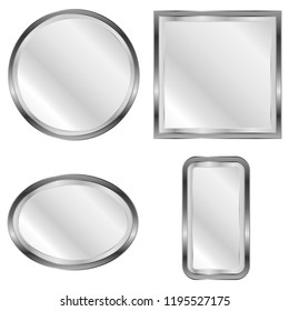 Mirror, a set of mirrors. Realistic mirror. Vector illustration, vector.