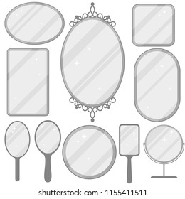 Mirror set, realistic mirrors frame collection, different forms with reflection, Round, rectangular, ellipse. Flat design Vector