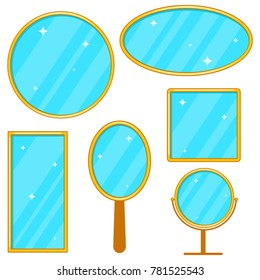 Mirror, a set of realistic mirrors in a gold frame, a set of mirrors. Flat design, vector illustration, vector.