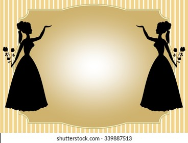 Mirror silhouette of Victorian lady with a bouquet of roses on a pale yellow striped background. Place for your own text - invitation to a dance, feast, celebration, cultural program. Luxury template
