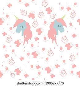 mirrored unicorns around magical pink flowers. Perfect for any children's textiles, notebooks, clothing design, wallpaper and more