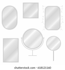 Mirrors set in different forms with blurry reflection. Vintage and modern mirrors. Vector