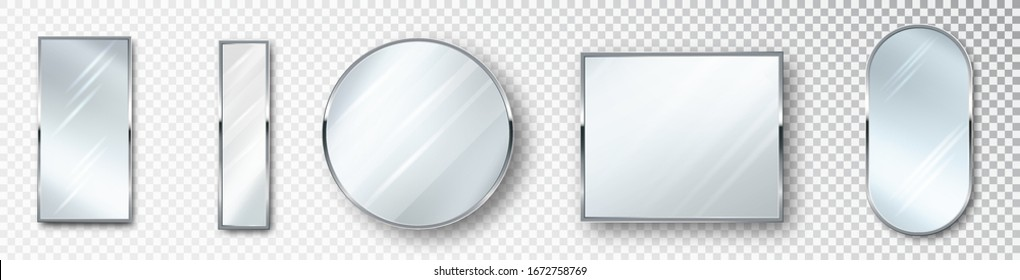 Mirrors set of different shapes isolated. Realistic mirror frame, white mirrors template. Realistic design for interior furniture. Reflecting glass surfaces isolated.