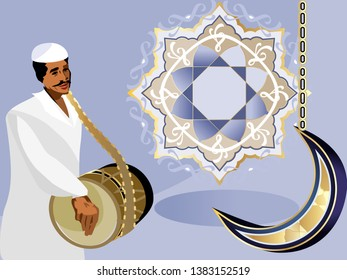 The Misaharaty (traditional ramadan drummer) waking people to sohoor.Suhoor – the pre-dawn meal.